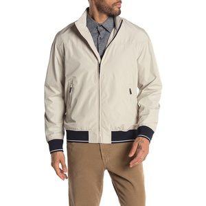Perry Ellis Waterproof Stripe Banded Zip Jacket